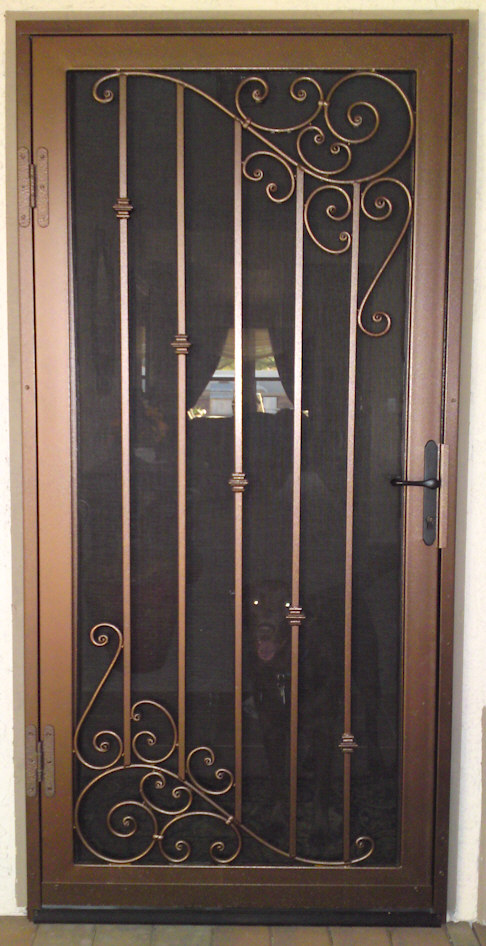 Custom security doors phoenix aaa sun control for Puertas rusticas de herreria