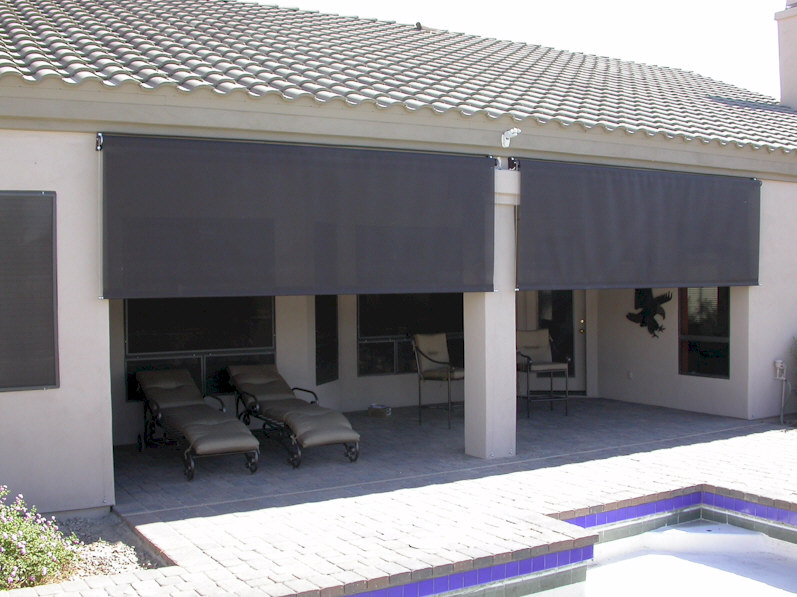 Roll down patio shades aaa sun control for Roll up screens for porches