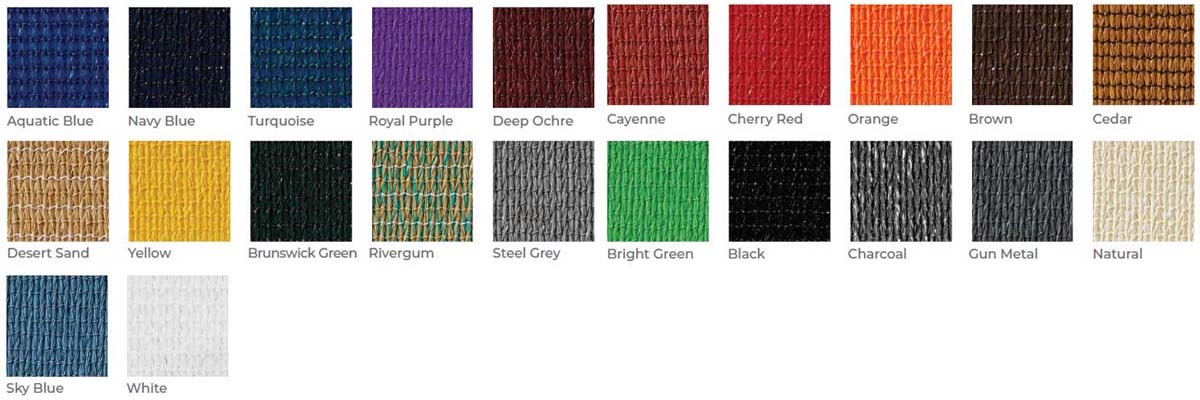 Available Colors for Sun Shade Sail Awnings